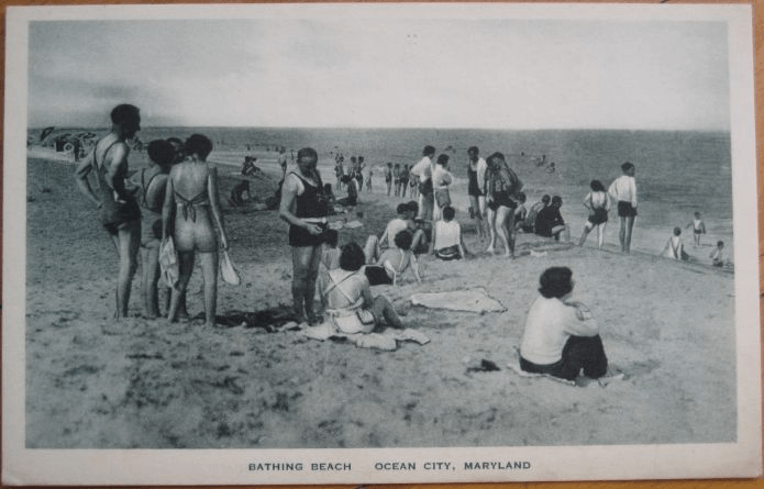 People on the Ocean City beach 1930