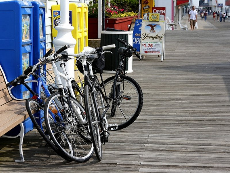 Bike on the ocean city boardwalk