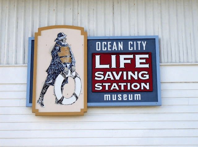 Old ocean city life saving museum sign