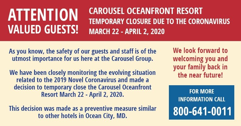 Carousel Oceanfront Resort Temporary Closure due to Coronavirus March 22 - April 2, 2020