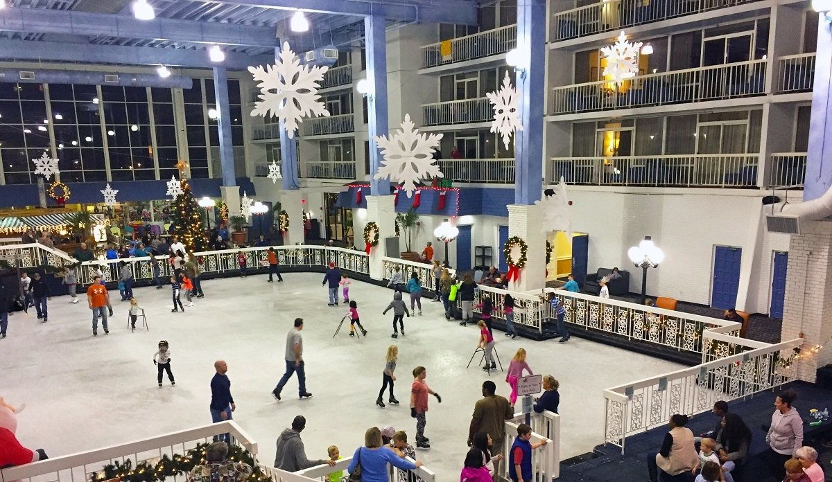People at the Indoor Ice rink at the Carousel Hotel