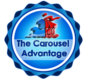 blue cirlce with 'The Carousel Advantage' written in the center