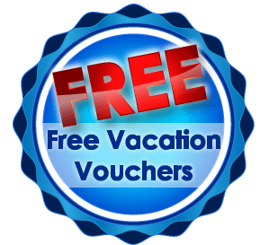 blue circle with 'free' written in big red letters and 'free vacation vouchers' underneath