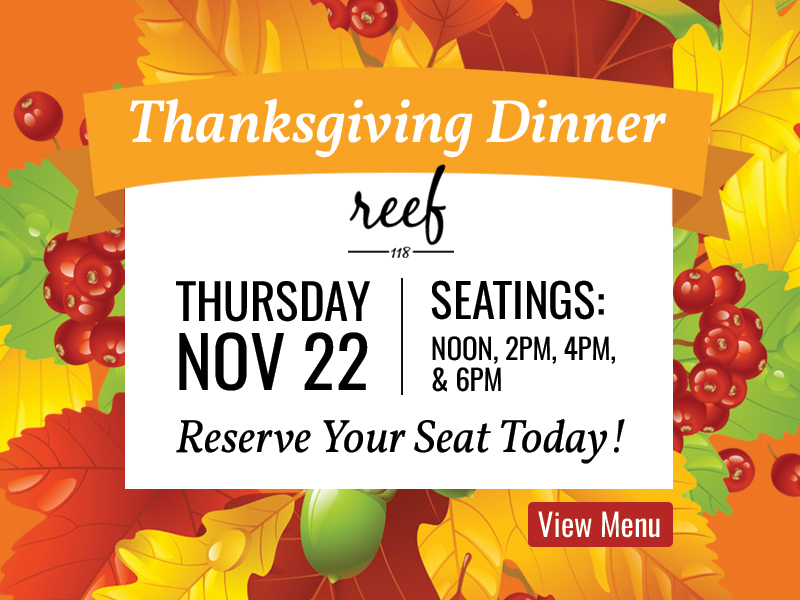 Thanksgiving Dinner, Seatings at noon, 2pm, 4pm and 6pm